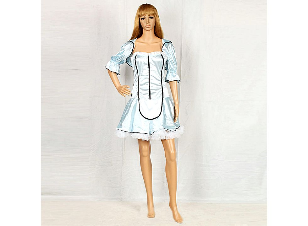 Sexy Halloween Maid Outfit Frech Maid Costume Sky Blue M -9064