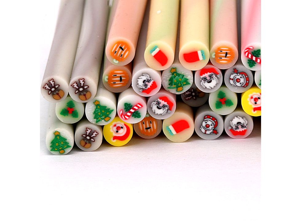 Pcs new cute nail art fimo christmas canes rods decoration for 3d nail art decoration
