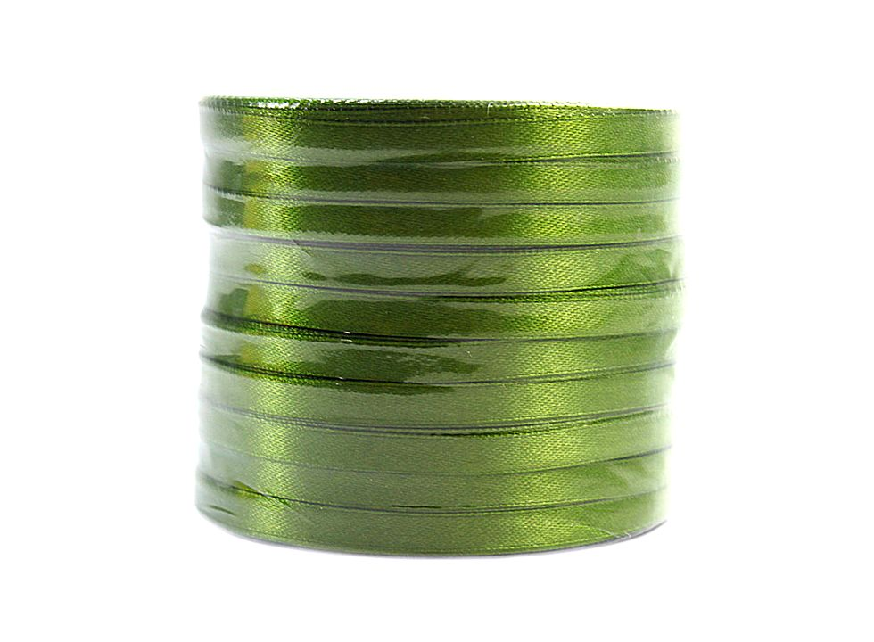 Wide Yards Dark Green Satin Ribbon 6mm 25 J02392 1