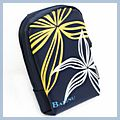 Flower Pattern Digital Camera Case Pouch Bag Dark Blue BL-124 HK-D00314
