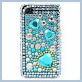 Blue Heart Diamond Rhinestone Bling Plastic Case for iPhone 4G HK-I00146