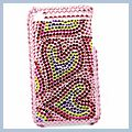 Love Pattern Rhinestone Bling Plastic Case for iPhone Pink 3G I00181