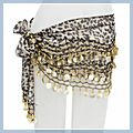 Azury Animal Patterns with Gold Coins Belly Dance Hip Scarf F2017AZ