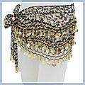 Azury Animal Patterns with Gold Coins Belly Dance Hip Scarf F2017AZ 1