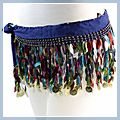 Beautiful Belly Dance Hip Scarf with Colorful Leaves Blue F00501
