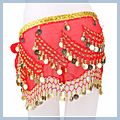 Belly Dance Hip Scarf Red Multi-level F00693