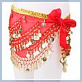 Belly Dance Hip Scarf Red Multi-level F00693 1