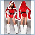 Christmas Cutie Adult Women Sleeve Sexy Costume Dress F00661