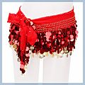 Gold Coins Belly Dance Hip Scarf Costume Belt Red 88 F00821