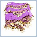 Golden Coin Triangle Belly Dance Belt Hip Scarf Purple 218 F00596 2
