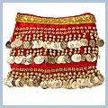 Golden Coins Velvet Belly Dance Hip Scarf Red 250 F00704 2
