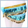 Leaf Shape Belly Dance Hip Scarf Blue F00699