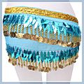 Leaf Shape Belly Dance Hip Scarf Blue F00699 1