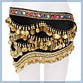 Multicolor Diamond Velvet Belly Dance Hip Scarf Black F00688