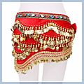 Multicolor Diamond Velvet Belly Dance Hip Scarf Red F00690