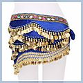 Multicolor Diamond Velvet Belly Dance Hip Scarf Sapphire F00689