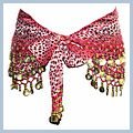Pink Animal Patterns with Gold Coins Belly Dance Hip Scarf F2017PI