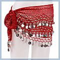 Pink Animal Patterns with Silver Coins Belly Dance Hip Scarf HK-F2019PI