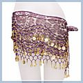 Purple Animal Patterns with Gold Coins Belly Dance Hip Scarf F2017PU