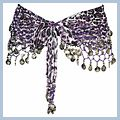 Purple Animal Patterns with Silver Coins Belly Dance Hip Scarf F2019PU