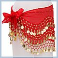 Red Belly Dance Hip Scarf Coin Wrap Belt Skirt Hipscarf F2005RE