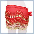 Red Belly Dance Hip Scarf Coin Wrap Belt Skirt Hipscarf F2005RE 1