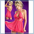 Sexy Hanging Neck Backless Spandex Nets Lace Sleepwear Dress Free Size Red 11002575