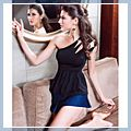 Sexy Womens Black Half Shoulder Slope Top Mini Dress with Trinket T-shirts 11002750