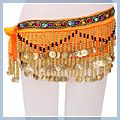 Special Beads Golden Coins Belly Dance Hip Scarf Orange & F00700