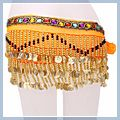 Special Beads Golden Coins Belly Dance Hip Scarf Orange & F00700 1