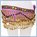 Special Beads Golden Coins Belly Dance Hip Scarf Purple & F00702