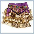 Special Beads Golden Coins Belly Dance Hip Scarf Purple & F00702 2
