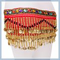 Special Beads Golden Coins Belly Dance Hip Scarf Red & F00701