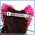Bowknot Hair Clip with Pigtail Pink S01426 2