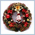 """Claus and Gifts Christmas Wreath Home Decoration Red CA-62 16"""" W01209"""