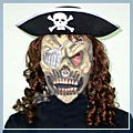 Pirate Hat Hair Skeleton Mask Set Halloween Masquerade Ornament W01115