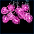 Shaped Battery LEDs Light Holiday Decoration Pink 1.5m Love-heart J03070 2