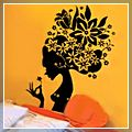 Black Beautiful Flower Elves Wall Sticker J00560BL