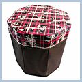 Flower Storage Octagonal Leather Stool J02364