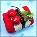 Lovely Red in Soft Cotton Cake Shaped Towel Set Gift 5 1 HK-J2120RE