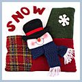 "Red SNOW Letter Snowman Throw Pillow 13"" J03924"