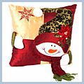 "Snowman Throw Pillow Gold 15"" J03913"