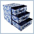 Three Three Pumping Storage Box Bag Blue Hand-printed J02535