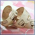 "Yard Cute Bear Pattern Grosgrain Ribbon Brown 7 8"" 10 J03602*10"