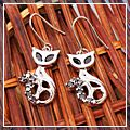 Beautiful Cat Black Leg Design Dangle Earrings S01601