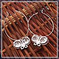 Beautiful Zircon Round with Butterfly Hoop Dangle Earrings Black and White HK-S01779