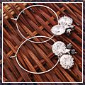 Beautiful Zircon Round with Butterfly Hoop Dangle Earrings Black and White HK-S01779 1