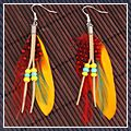 Elegant Red Spots Yellow Goose Feather Beads Dangle Earrings 16003702