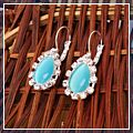 Fashion Opal Drop Earrings Light Blue HK-S01631