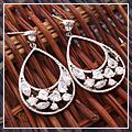 Fashion Water Drop Hollow Zircon Stud Earring White HK-S01775